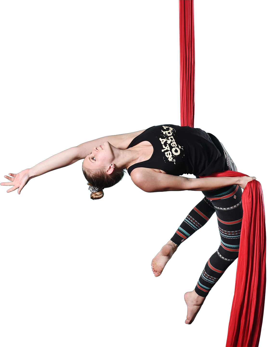 female student performing on aerial silks