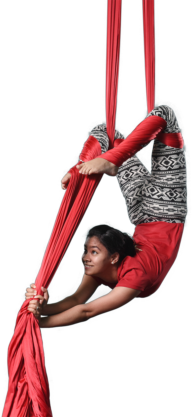 girl upside down on aerial silks