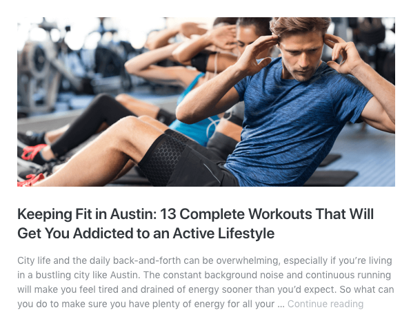 keeping fit in austin graphic
