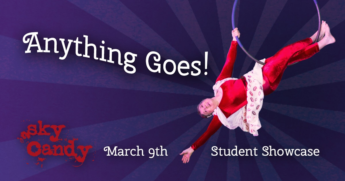Student Showcase - Female student on lyra or aerial hoop