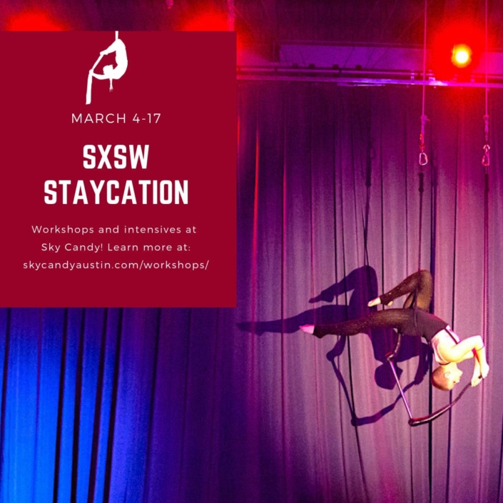 SXSW Staycation Workshops - female teacher performing on trapeze