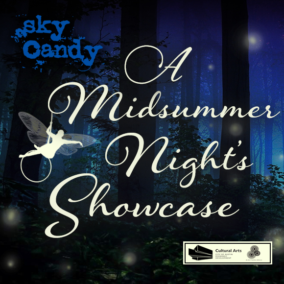 cartoon of a fairy on an aerial hoop hanging off a graphic reading A Midsummer Night's Showcase