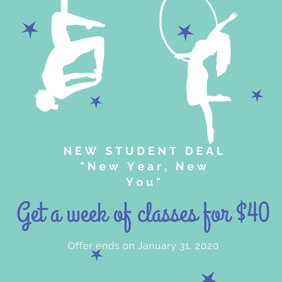 new student deal graphic - a week of drop-in classes for $40