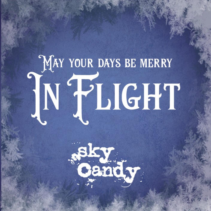 winter holiday gift card image - merry in flight