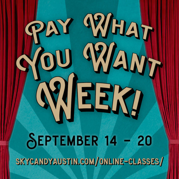 """pay what you want week promotional graphic: red theatrical curtains around text reading """"pay what you want week! September 14 - 20"""""""
