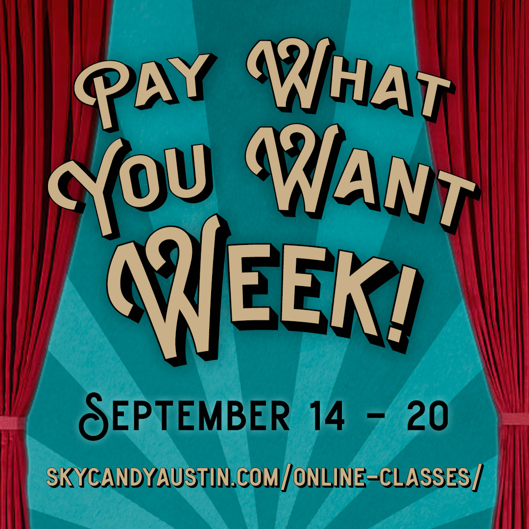 "pay what you want week promotional graphic: red theatrical curtains around text reading ""pay what you want week! September 14 - 20"""