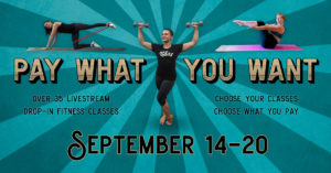 pay what you want week promotional graphic: teachers exercising around text