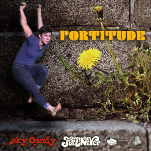 online show poster for Fortitude - trapeze artist hangs under the bar against a background of dandelions growing through concrete